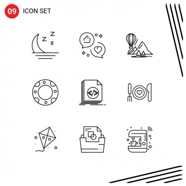 Stock Vector Icon Pack of 9 Line Signs and Symbols for code, life, marketing, insurance, camping Editable Vector Design Elements icon