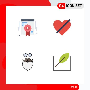 Set of 4 Commercial Flat Icons pack for badge, moustache, web quality, heart, movember Editable Vector Design Elements icon