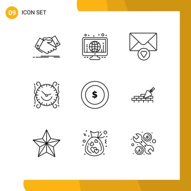 Stock Vector Icon Pack of 9 Line Signs and Symbols for coin, decorate, world, watch, clock Editable Vector Design Elements icon