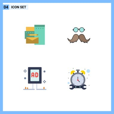 Editable Vector Line Pack of 4 Simple Flat Icons of advertising, advertising, corporate, movember, board Editable Vector Design Elements icon