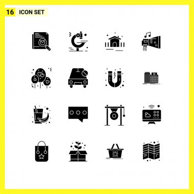 Stock Vector Icon Pack of 16 Line Signs and Symbols for balloon, hardware, construction, device, audio Editable Vector Design Elements icon