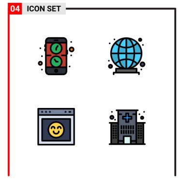 Stock Vector Icon Pack of 4 Line Signs and Symbols for app, interface, watch, world, building Editable Vector Design Elements icon