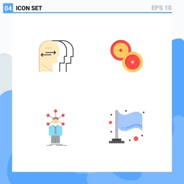 Set of 4 Commercial Flat Icons pack for personality, network, head, chinese, self Editable Vector Design Elements icon