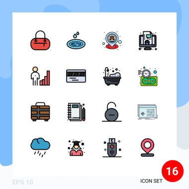 Stock Vector Icon Pack of 16 Line Signs and Symbols for corporate, analytics, location, live, coaching Editable Creative Vector Design Elements icon