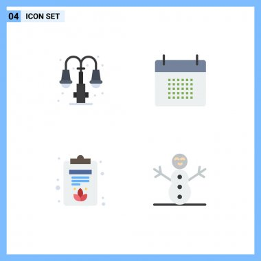 4 User Interface Flat Icon Pack of modern Signs and Symbols of city, clipboard, lump, date, lotus Editable Vector Design Elements icon