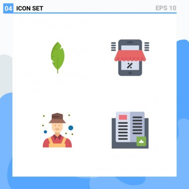 Pack of 4 Modern Flat Icons Signs and Symbols for Web Print Media such as feather, detective, mobile, marketplace, detect Editable Vector Design Elements icon