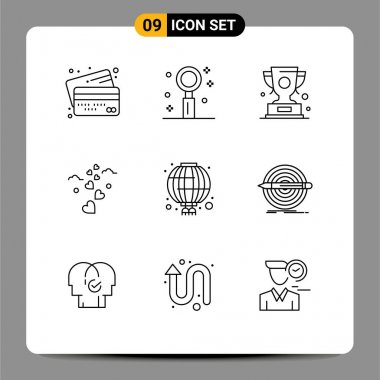 Stock Vector Icon Pack of 9 Line Signs and Symbols for loving, hearts, romance, winner, win Editable Vector Design Elements icon