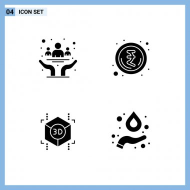 Stock Vector Icon Pack of 4 Line Signs and Symbols for awareness, printing, day, money, formula Editable Vector Design Elements icon