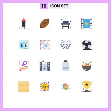 Universal Icon Symbols Group of 16 Modern Flat Colors of business, stream, bed, player, wellness Editable Pack of Creative Vector Design Elements icon