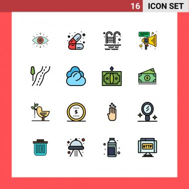 Stock Vector Icon Pack of 16 Line Signs and Symbols for climate, route, swimming pool, road, megaphone Editable Creative Vector Design Elements icon