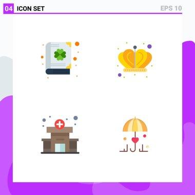 Flat Icon Pack of 4 Universal Symbols of book, medical, patrick, king, umbrella Editable Vector Design Elements icon