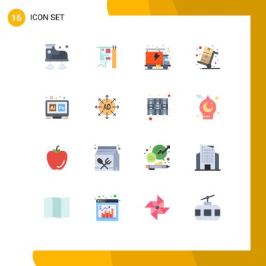 Set of 16 Modern UI Icons Symbols Signs for hex, trolley, energy, shopping, sale Editable Pack of Creative Vector Design Elements icon