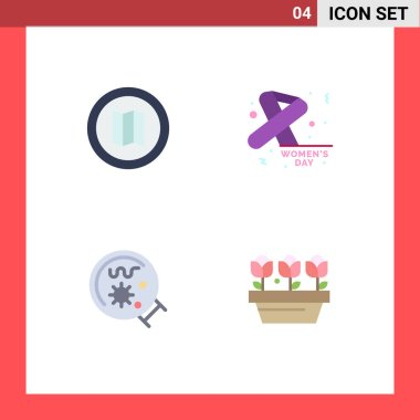 4 User Interface Flat Icon Pack of modern Signs and Symbols of holiday, magnifier, awareness, day, flower Editable Vector Design Elements icon
