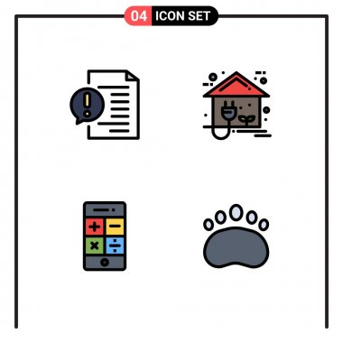 Stock Vector Icon Pack of 4 Line Signs and Symbols for communication, power, faq, energy, math Editable Vector Design Elements icon
