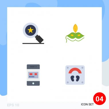 Pack of 4 Modern Flat Icons Signs and Symbols for Web Print Media such as achievements, online, mask, mardigras, store Editable Vector Design Elements icon
