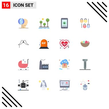 Stock Vector Icon Pack of 16 Line Signs and Symbols for moustache, lock, survival, gdpr, play Editable Pack of Creative Vector Design Elements icon