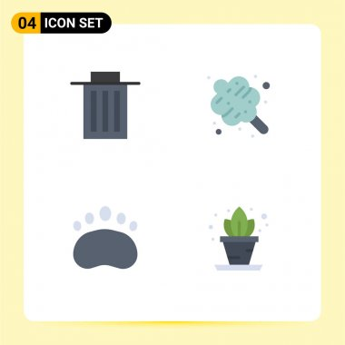 Editable Vector Line Pack of 4 Simple Flat Icons of delete, clutches, user, food, home Editable Vector Design Elements icon