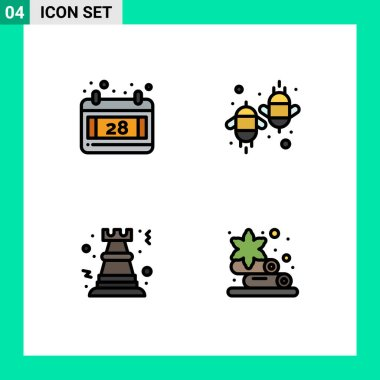 Stock Vector Icon Pack of 4 Line Signs and Symbols for calendar, chess, agriculture, ecology, rock Editable Vector Design Elements icon