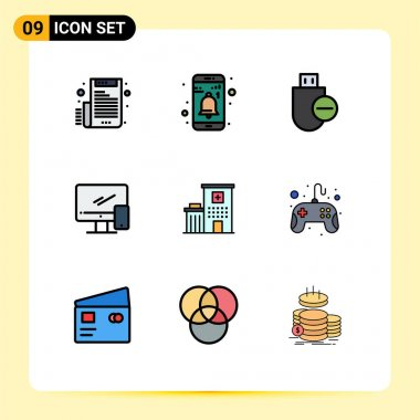 Stock Vector Icon Pack of 9 Line Signs and Symbols for mobile, device, computers, monitor, stick Editable Vector Design Elements icon