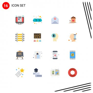 16 Creative Icons Modern Signs and Symbols of hut, family, add, house, mail Editable Pack of Creative Vector Design Elements icon