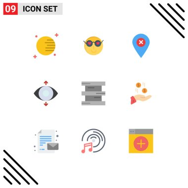 Stock Vector Icon Pack of 9 Line Signs and Symbols for chemistry, biochemistry, location, view, eye Editable Vector Design Elements icon
