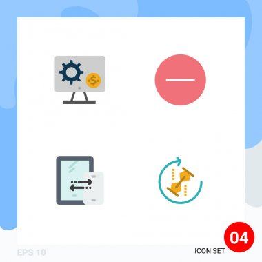 4 User Interface Flat Icon Pack of modern Signs and Symbols of generator, multimedia, setting, remove, connection Editable Vector Design Elements icon