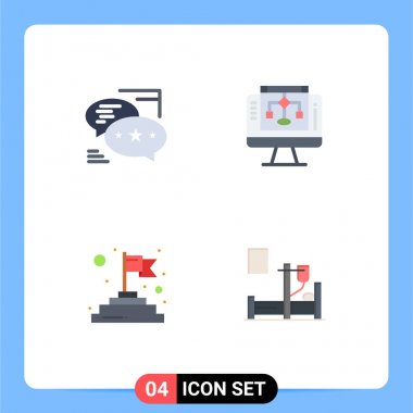 4 User Interface Flat Icon Pack of modern Signs and Symbols of chat, finish, messages, share, success Editable Vector Design Elements icon