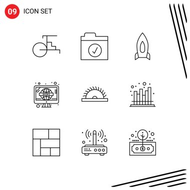 Stock Vector Icon Pack of 9 Line Signs and Symbols for saw, tv, spaceship, television, news Editable Vector Design Elements icon