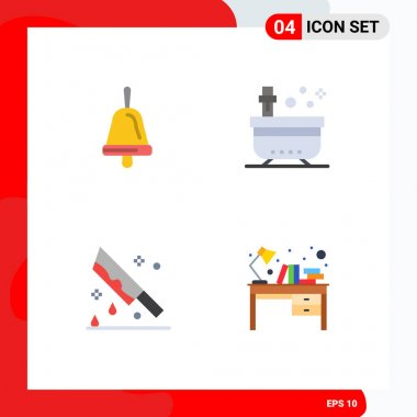 Pack of 4 creative Flat Icons of bell, halloween, bath, tub, knife Editable Vector Design Elements icon