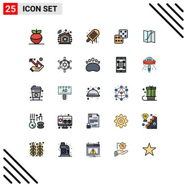 Stock Vector Icon Pack of 25 Line Signs and Symbols for hand, navigation, ice cream, location, gambling Editable Vector Design Elements icon