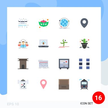 16 Creative Icons Modern Signs and Symbols of group, business, internet, team, map Editable Pack of Creative Vector Design Elements icon