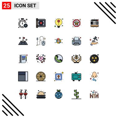 Stock Vector Icon Pack of 25 Line Signs and Symbols for process, public transit, health, bus, idea Editable Vector Design Elements icon