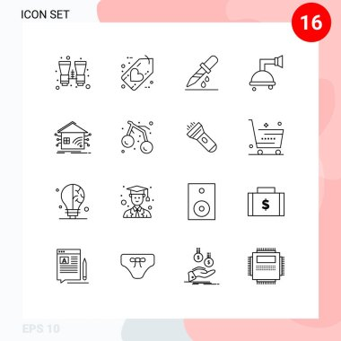 Stock Vector Icon Pack of 16 Line Signs and Symbols for home, shower, love, clean, medicine Editable Vector Design Elements icon