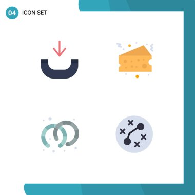 Pack of 4 Modern Flat Icons Signs and Symbols for Web Print Media such as call, jewelry, cake, food, germs Editable Vector Design Elements icon
