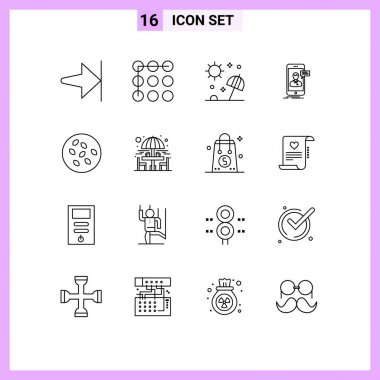 Stock Vector Icon Pack of 16 Line Signs and Symbols for sesame, online conversation, sea, mobile, live chat Editable Vector Design Elements icon