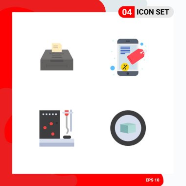 Editable Vector Line Pack of 4 Simple Flat Icons of data, medicine, information, seo tag, treatment Editable Vector Design Elements icon