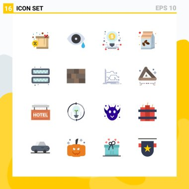 Stock Vector Icon Pack of 16 Line Signs and Symbols for ice, cold, investment, bean, coffee box Editable Pack of Creative Vector Design Elements icon