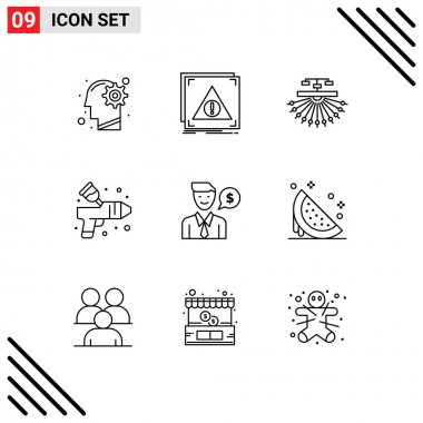 Stock Vector Icon Pack of 9 Line Signs and Symbols for paint, airbrush, server, web, site Editable Vector Design Elements icon
