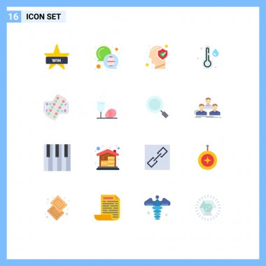 16 Creative Icons Modern Signs and Symbols of pill, weather, brain, temperature, mind Editable Pack of Creative Vector Design Elements icon