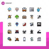 Fotografie Set von 25 modernen UI-Symbolen Symbole Zeichen für Schleife, Körper, Fahrzeuge, Avatar, Illustration Editierbare Vektordesign-Elemente