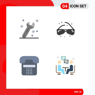 Stock Vector Icon Pack of 4 Line Signs and Symbols for construction, contact, glasses, geek, phone Editable Vector Design Elements icon