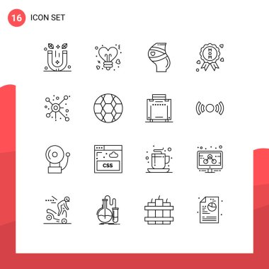 Stock Vector Icon Pack of 16 Line Signs and Symbols for network, quality, belt, certificate, women Editable Vector Design Elements icon