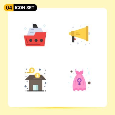 4 User Interface Flat Icon Pack of modern Signs and Symbols of cruise, bank, ship, megaphone, finance Editable Vector Design Elements icon