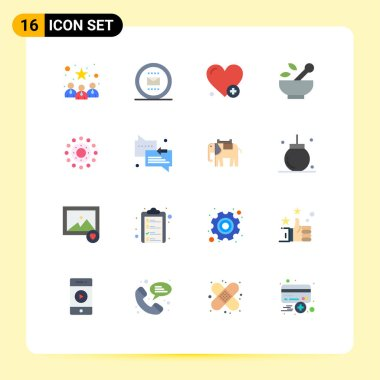 Set of 16 Modern UI Icons Symbols Signs for spring, soup, work, medicine, hospital Editable Pack of Creative Vector Design Elements icon