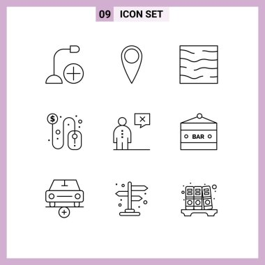 Stock Vector Icon Pack of 9 Line Signs and Symbols for communication, mouse, river, dollar sign, click Editable Vector Design Elements icon