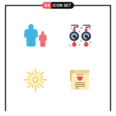 4 User Interface Flat Icon Pack of modern Signs and Symbols of child, light, parental control, jewel, brightness Editable Vector Design Elements icon