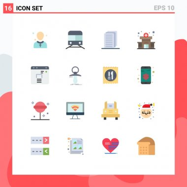 Universal Icon Symbols Group of 16 Modern Flat Colors of finance, medical, transportation, hospital, file Editable Pack of Creative Vector Design Elements icon