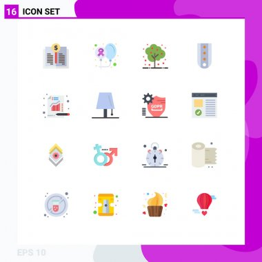 Set of 16 Modern UI Icons Symbols Signs for striped, military, world, insignia, plant Editable Pack of Creative Vector Design Elements icon