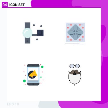 User Interface Pack of 4 Basic Flat Icons of camcorder, grid, recording, infrastructure, marketing Editable Vector Design Elements icon