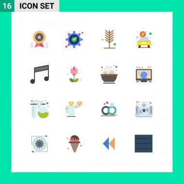 Set of 16 Modern UI Icons Symbols Signs for money, car, gear, tree, nature Editable Pack of Creative Vector Design Elements icon